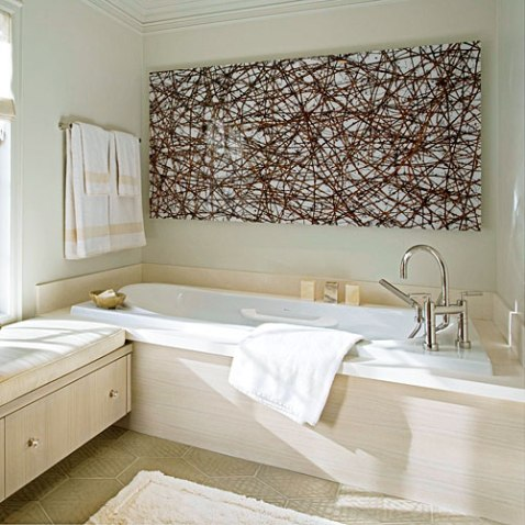 bold artwork in bath